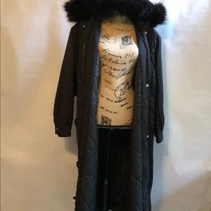 Forecaster Full Length Coat with Faux Fur Hood M